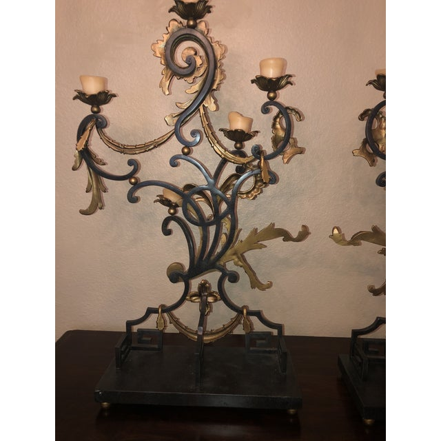 Metal 18th Century Rococo Style Iron and Brass Candle Holders by Theodore Alexander - a Pair For Sale - Image 7 of 13