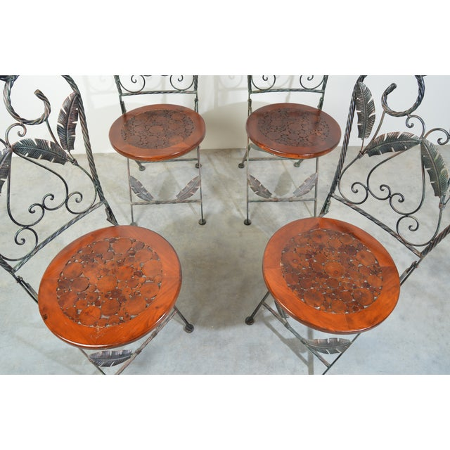 4 Folding French Bistro Chairs in Oak and Wrought Iron For Sale In Philadelphia - Image 6 of 7