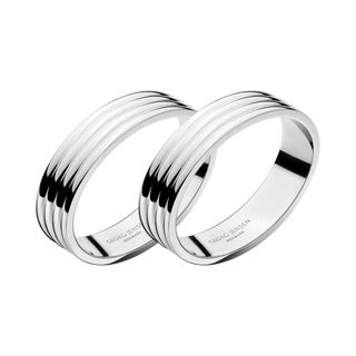 Georg Jensen Art Deco Stainless Steel Bernadotte Napkin Rings - a Pair For Sale