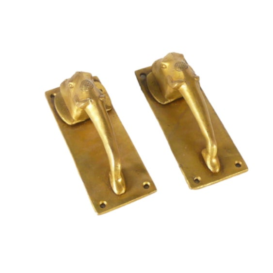 Brass Elephant Door Handles - a Pair For Sale - Image 4 of 5