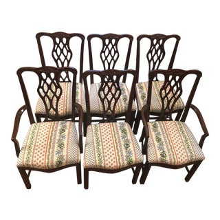 1980s Vintage Mahogany Chippendale Dining Chairs- Set of 6 For Sale