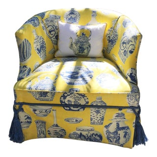 Yellow & Blue Chinoiserie Inspired Chair With Tassels