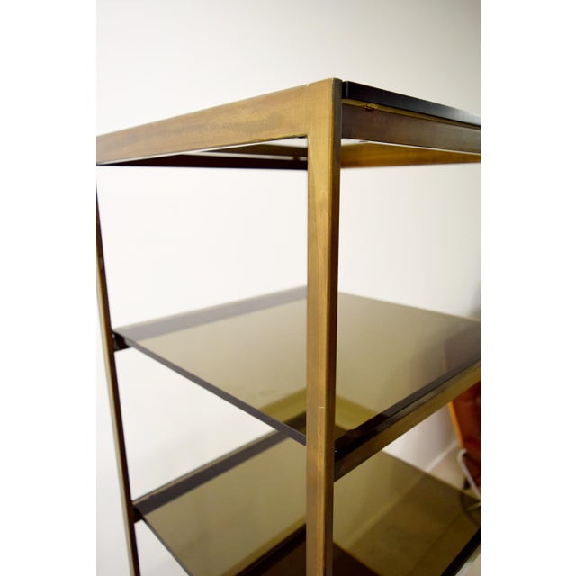Vintage Brass and Smoked Glass Etagere Shelf For Sale - Image 4 of 7