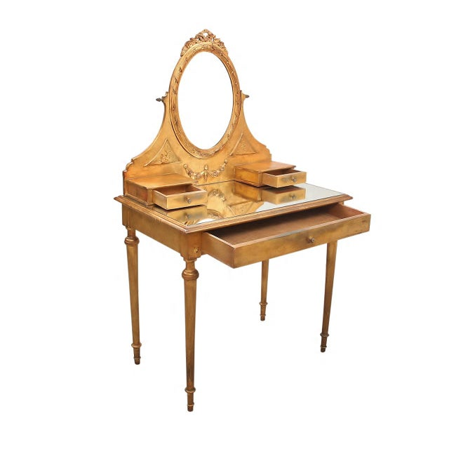 2000 - 2009 French Style Gilt Vanity & Coordinating Stool For Sale - Image 5 of 13
