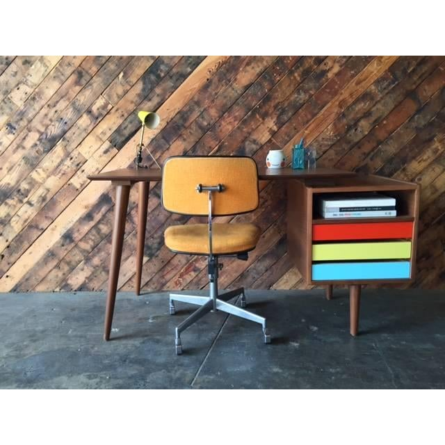 Mid-Century-Style Color Block Desk - Image 3 of 5