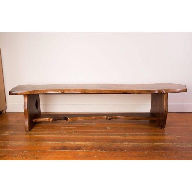 1970s craftsman made redwood slab bench.