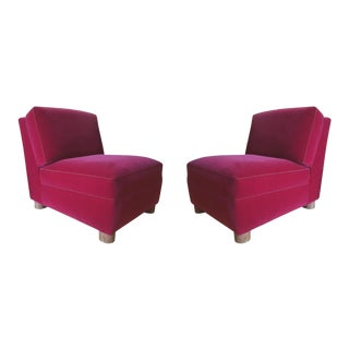 Jean Royere Pair of Slipper Chairs Covered in Red Mohair Velvet For Sale