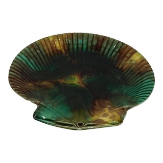 19th Century French Majolica Shell Plate For Sale