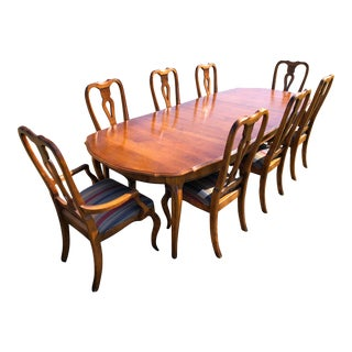 French Country Provincial Ethan Allen Dining Room Set - 9 Pieces For Sale