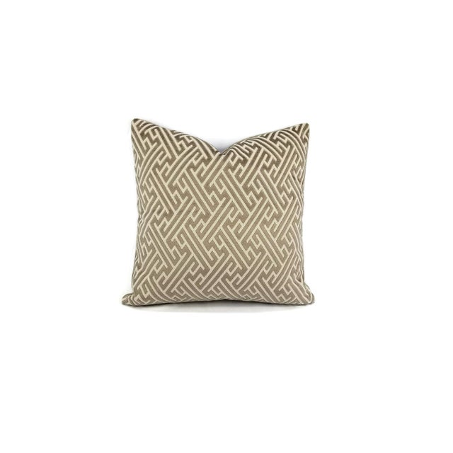 "Holly Hunt in Labyrinth Field Stone - Gray and White Geometric Fretwork Velvet Pillow Cover 20"" X 20"" For Sale In Portland, OR - Image 6 of 6"
