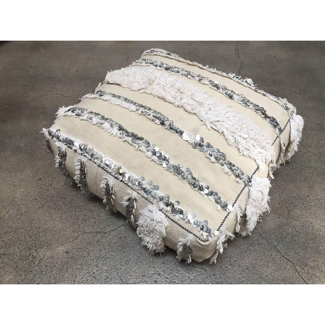 Mid 20th Century Moroccan Wedding Floor Pillow Pouf with Silver Sequins and Long Fringes For Sale - Image 5 of 10