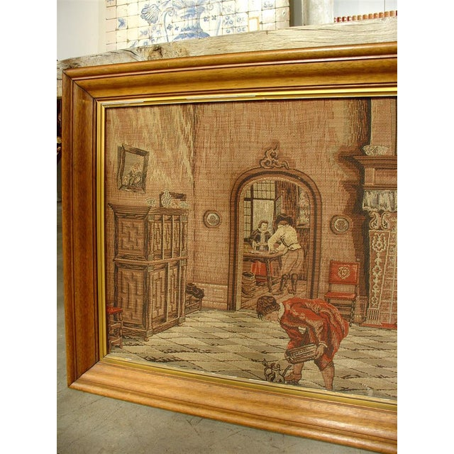 A Long Oak Framed French Tapestry Depicting an Interior Scene, Circa1900 For Sale In Dallas - Image 6 of 10