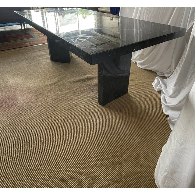 1980s Nero Marquina Black Marble Dining Table For Sale In San Antonio - Image 6 of 13