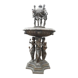 Large Bronze Fountain With Musicians and Dome Topper For Sale