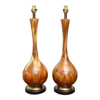 Pair of Monumental Amber Drip Glaze Table Lamps, 1950s Usa For Sale