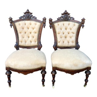 Antique Mahogany Victorian Side Chairs W Faces - a Pair For Sale