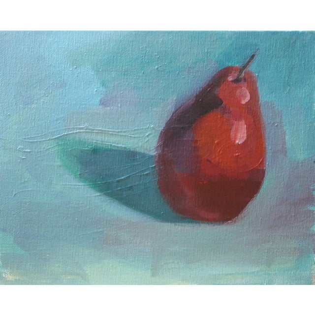 Paula McCarty Red Pear Acrylic on Canvas Board Painting For Sale - Image 4 of 4