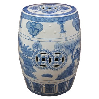 1990s Oriental Ceramic Blue White Garden Stool Pagoda Table Plant Stand For Sale