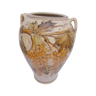 Italian Grapevine Painted Pot For Sale