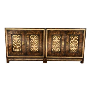 Mid Century Mastercraft Burl and Brass Modular Credenza Cabinets For Sale