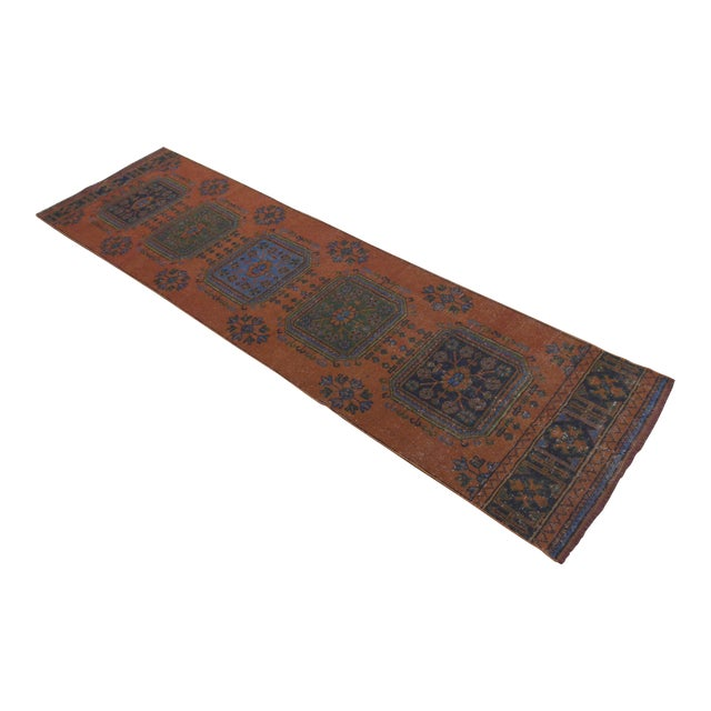 "Distressed Oushak Rug Runner - 3'1"" x 11'4"" - Image 1 of 10"