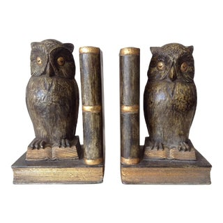 Plaster & Gilt Owl & Book Bookends - A Pair