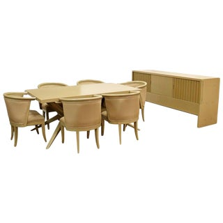 Mid-Century Modern Harold Schwartz for Romweber Credenza Dining Table & Chairs - 8 Pieces For Sale