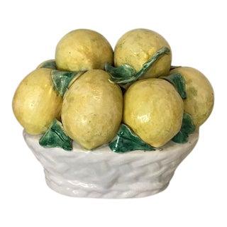 Vintage Italian Majolica Lemons in Bowl Centerpiece For Sale