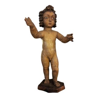 19th Century Angel Carved Wood Statue For Sale