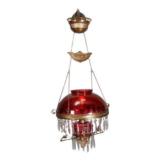 Victorian Electric Cranberry Glass, Brass and Crystal Banquet Light, circa 1890 For Sale