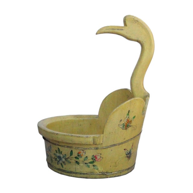 Chinese Chinese Yellow Flower Duck Shaped Wood Bucket For Sale - Image 3 of 5