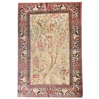 18th Century Antique Persian Isfahan Rug-4′3″ × 6′10″ For Sale