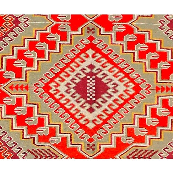 Red & Orange Afghan Sumak Kilim Rug - 5′3″ × 8′3″ For Sale - Image 5 of 6