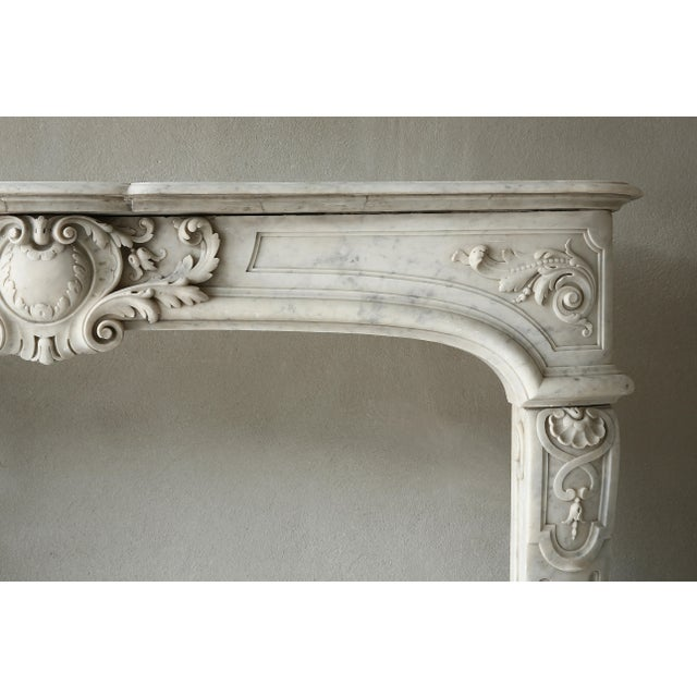 Louis XIV 19th Century, Louis XIV Style, Antique Fireplace of Carrara Marble For Sale - Image 3 of 13