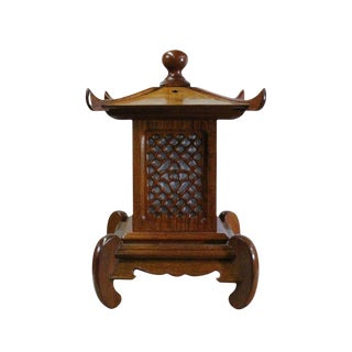 Handmade Wood Square Tower Pagoda Shape Table Lamp For Sale