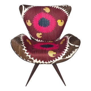 Brazilian Modern Chair by Szalay Design Contemporâneo With Suzani Tapestry