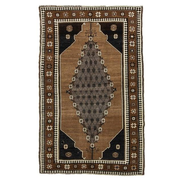 Textile Vintage Brown & Black Turkish Kars Rug- 5′8″ × 8′10″ For Sale - Image 7 of 7