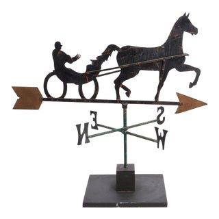 Antique Sulky and Rider Folk Art Weather Vane For Sale