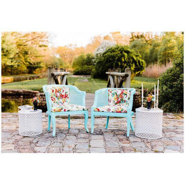 Mid-Century Blue Floral Chairs - A Pair - Image 3 of 10