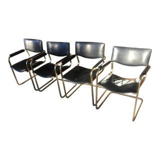 1980s Vintage Arrben Italy Black Leather Armchairs- 4 Pieces For Sale