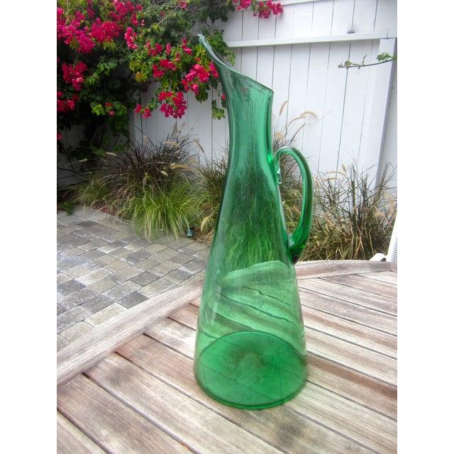 Modernist Green Blenko Vase Pitcher - Image 6 of 6