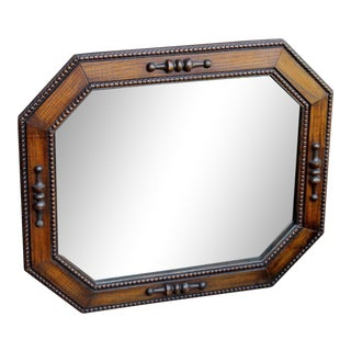 Antique English Jacobean Tudor Style Carved Oak OctagonalFramed Wall Mirror For Sale