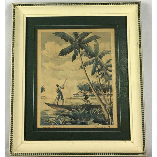 """Framed in white and green wooden frames. Signed RC Lockhardt. """"Island Fisherman"""" and """"Coral Island"""". 13.25"""" x 15.25""""."""