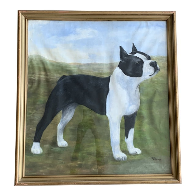 Mid 20th Century Dog Portrait Oil Painting, Framed For Sale
