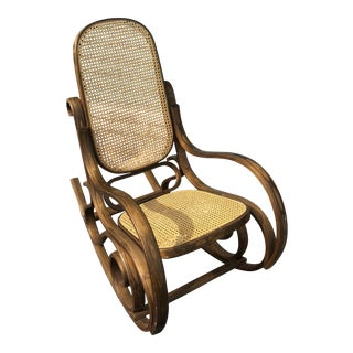 Thonet Style Cane Back Rocking Chair For Sale