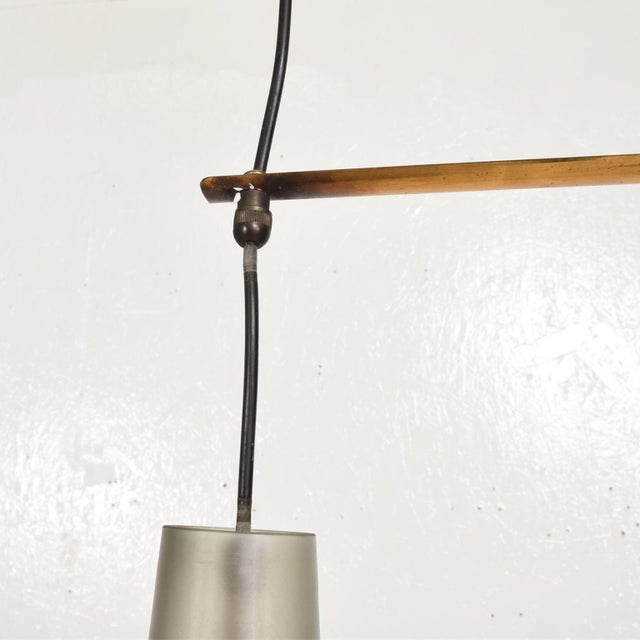 Italian Mid-Century Modern Pendant Chandelier With Two Frosted Glass Shades For Sale In San Diego - Image 6 of 11