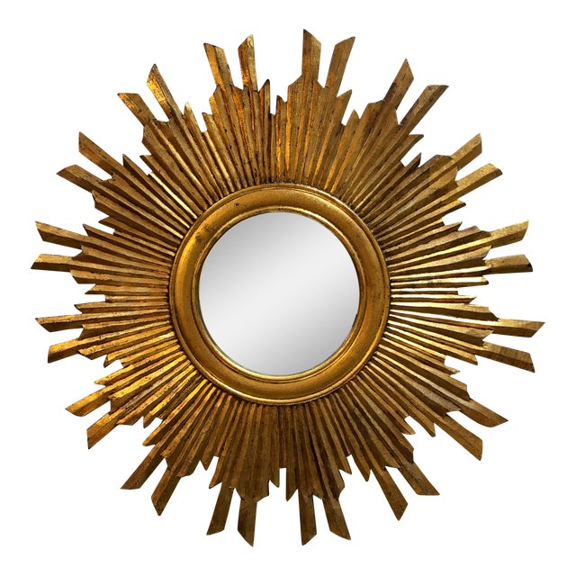 Gilt Wood Sunburst Mirror For Sale