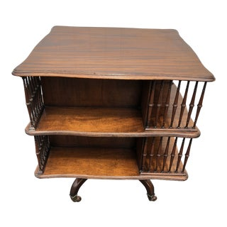 Antique Regency Style Revolving Bookcase Side Table For Sale