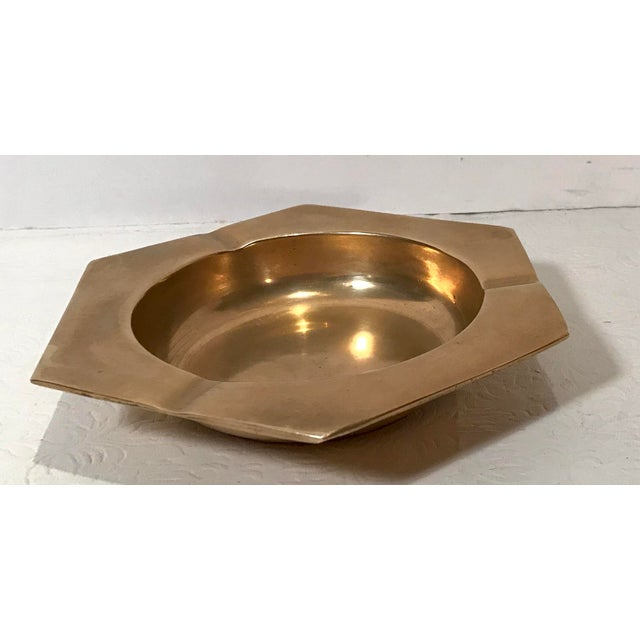 Mid-Century Modern Vintage Brass Six Sided Geometric Ashtray For Sale - Image 3 of 7