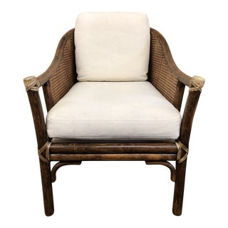 McGuire Vintage Caned Lounge Chair For Sale